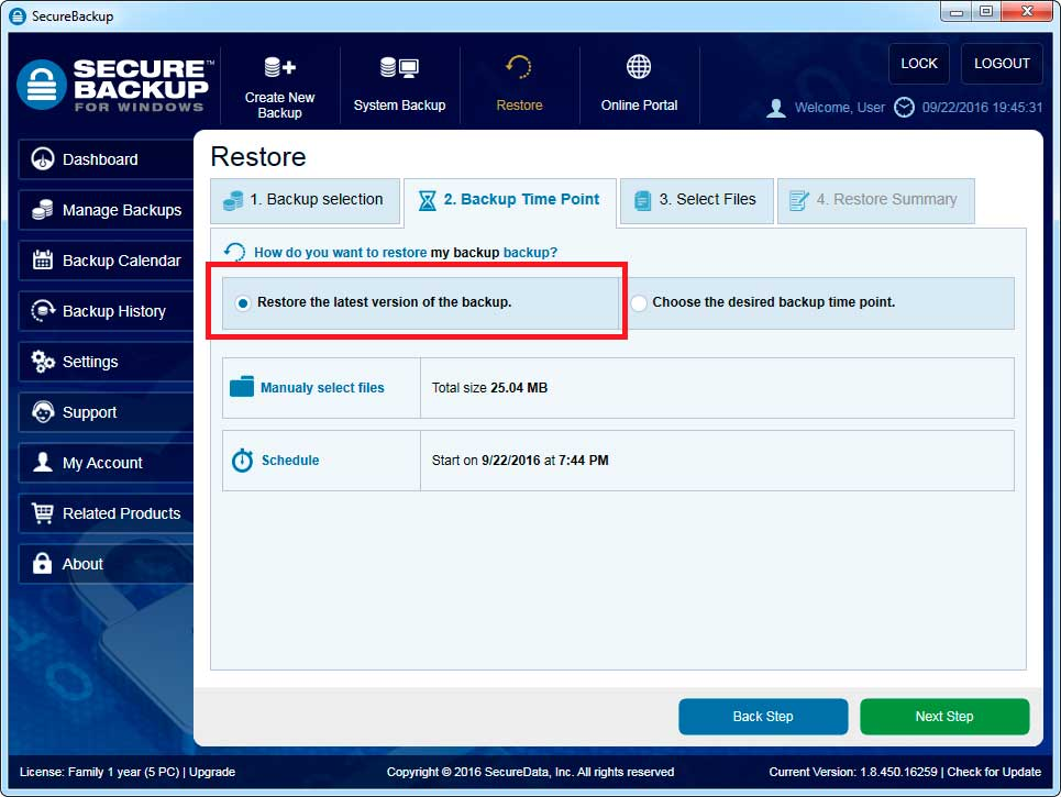 Restore the latest version of the backup