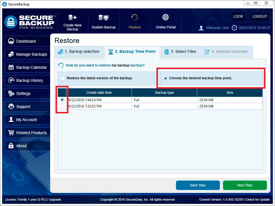 Choose the desired backup time point